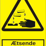 Advarselsskilt A302 - Ætsende stoffer