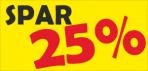 Rabatskilt: Spar 25 %